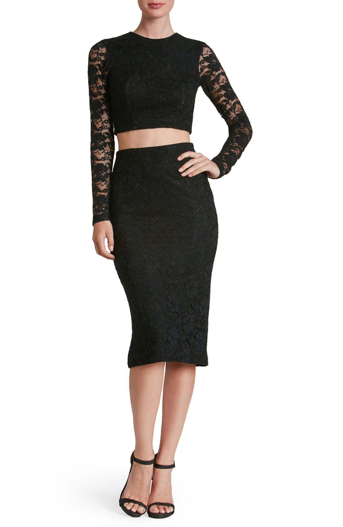 Main Image - Dress the Population 'Alexa' Lace Two-Piece Dress