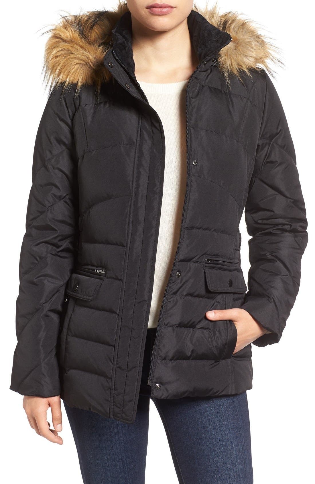Main Image - Larry Levine Water Repellent Quilted Jacket with Faux Fur Trim