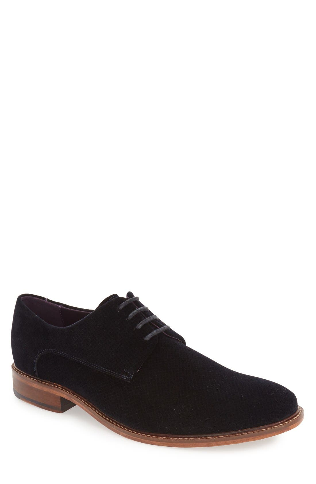 'Nierro' Plain Toe Derby,                             Main thumbnail 1, color,                             Dark Blue