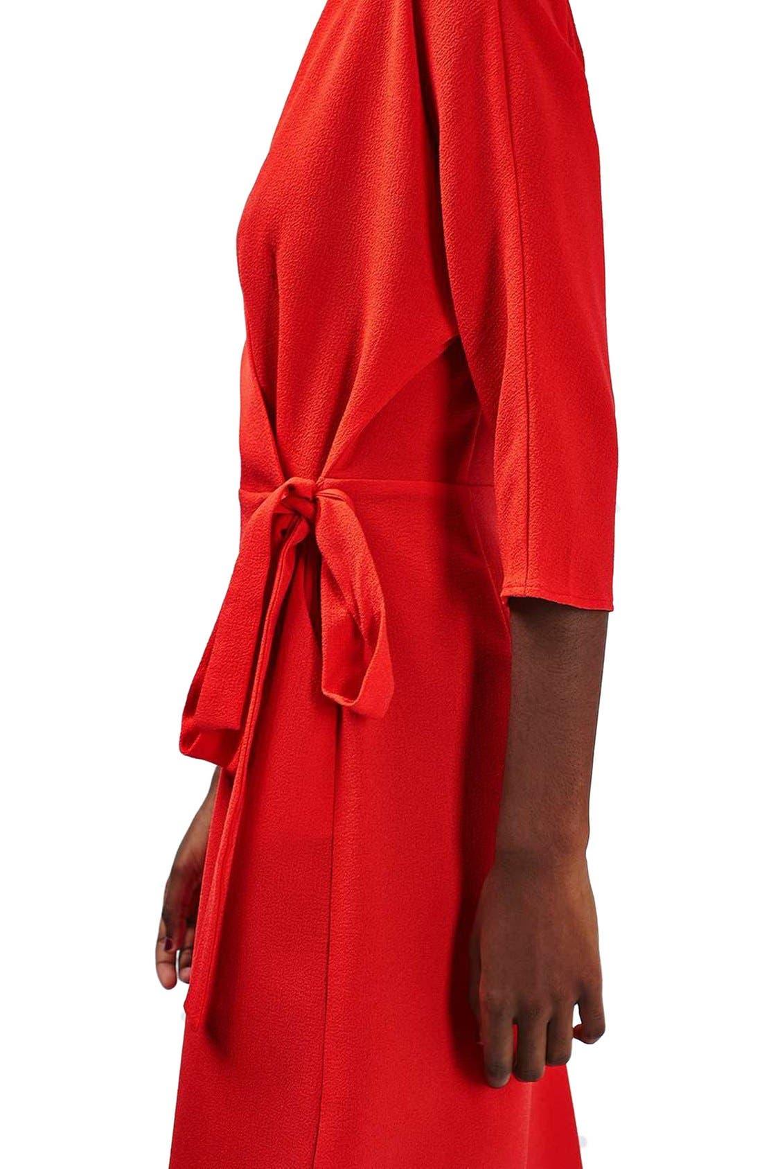 Dolman Sleeve Wrap Midi Dress,                             Alternate thumbnail 4, color,                             Red