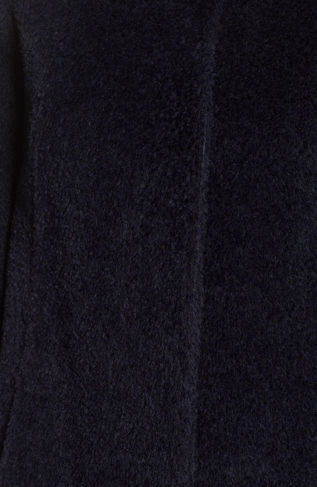 Stand Collar Wool & Alpaca Long A-Line Coat,                             Alternate thumbnail 5, color,                             Navy