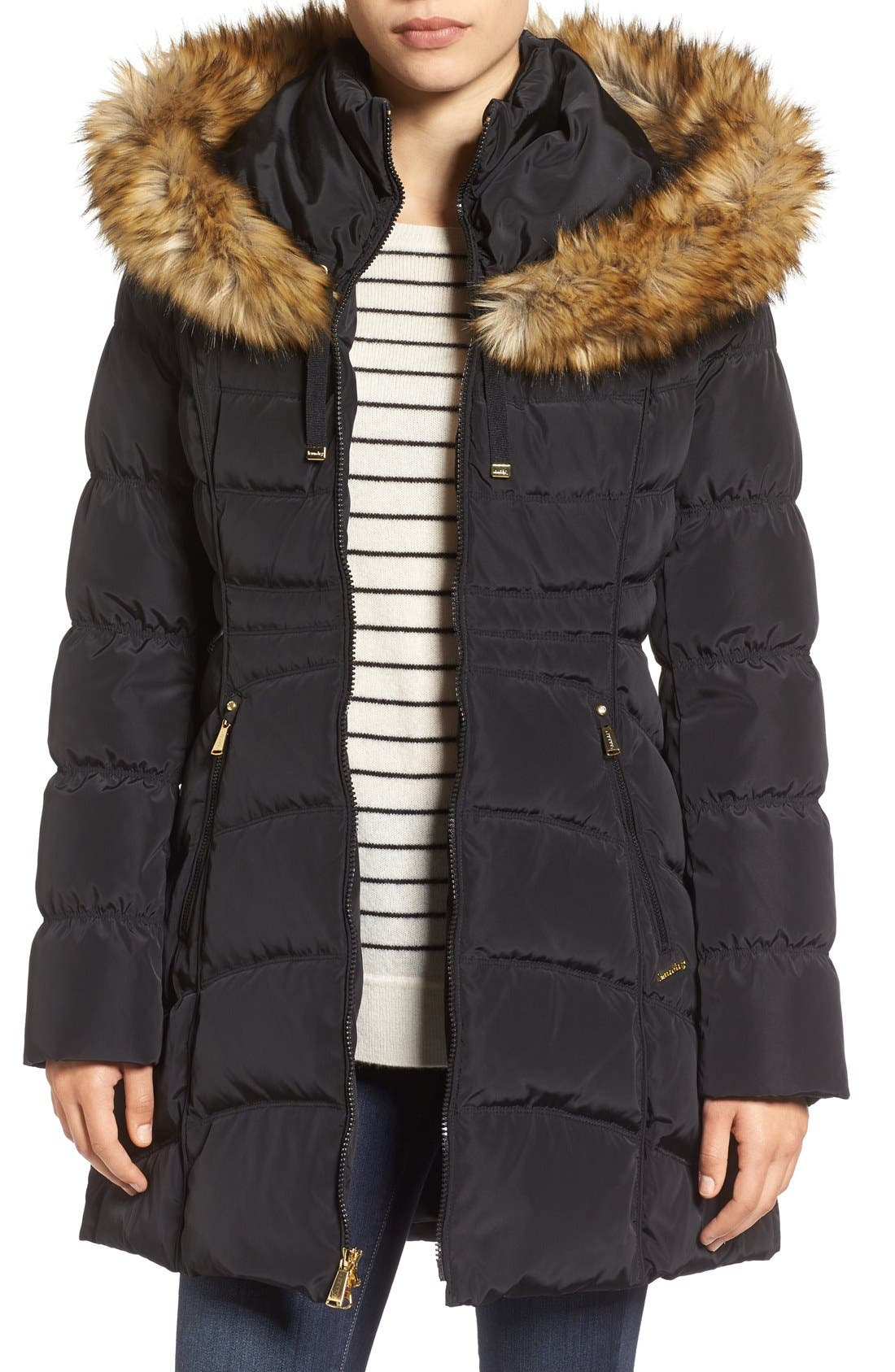 Laundry by Shelli Segal Hooded Down & Feather Fill Coat with Detachable Faux Fur Trim