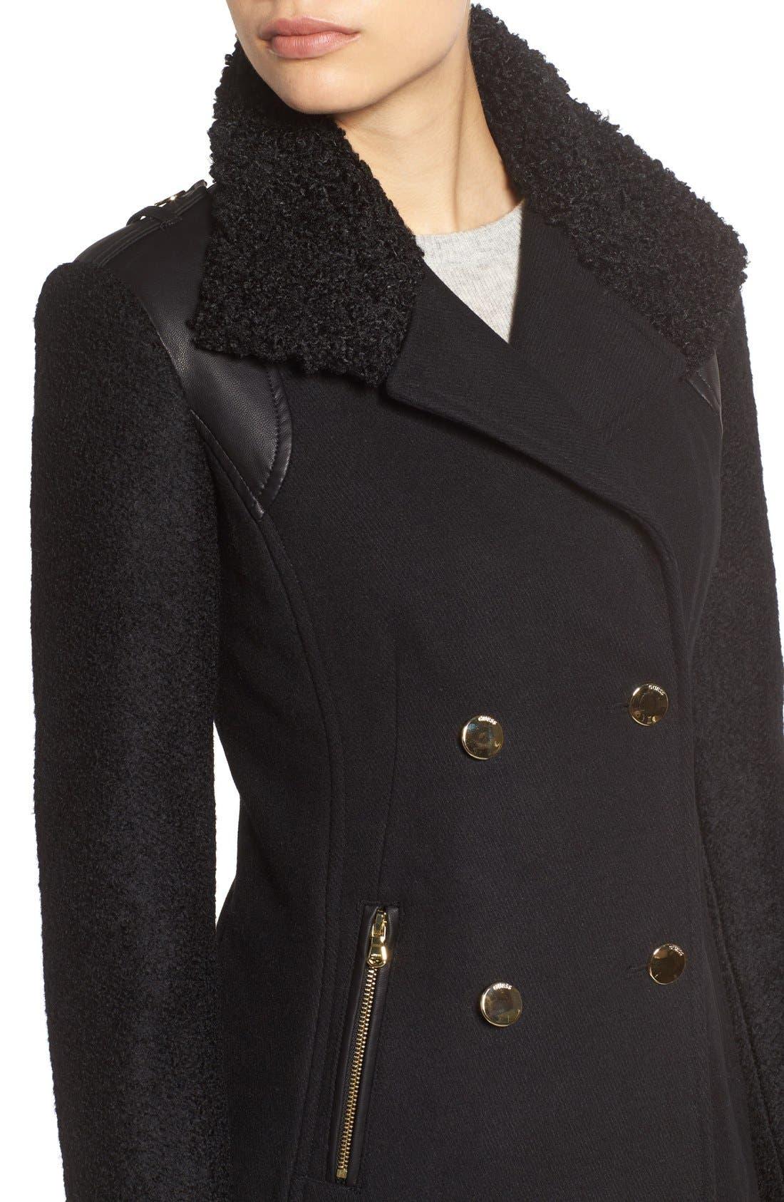 Bouclé Sleeve Wool Blend Military Coat,                             Alternate thumbnail 4, color,                             Black