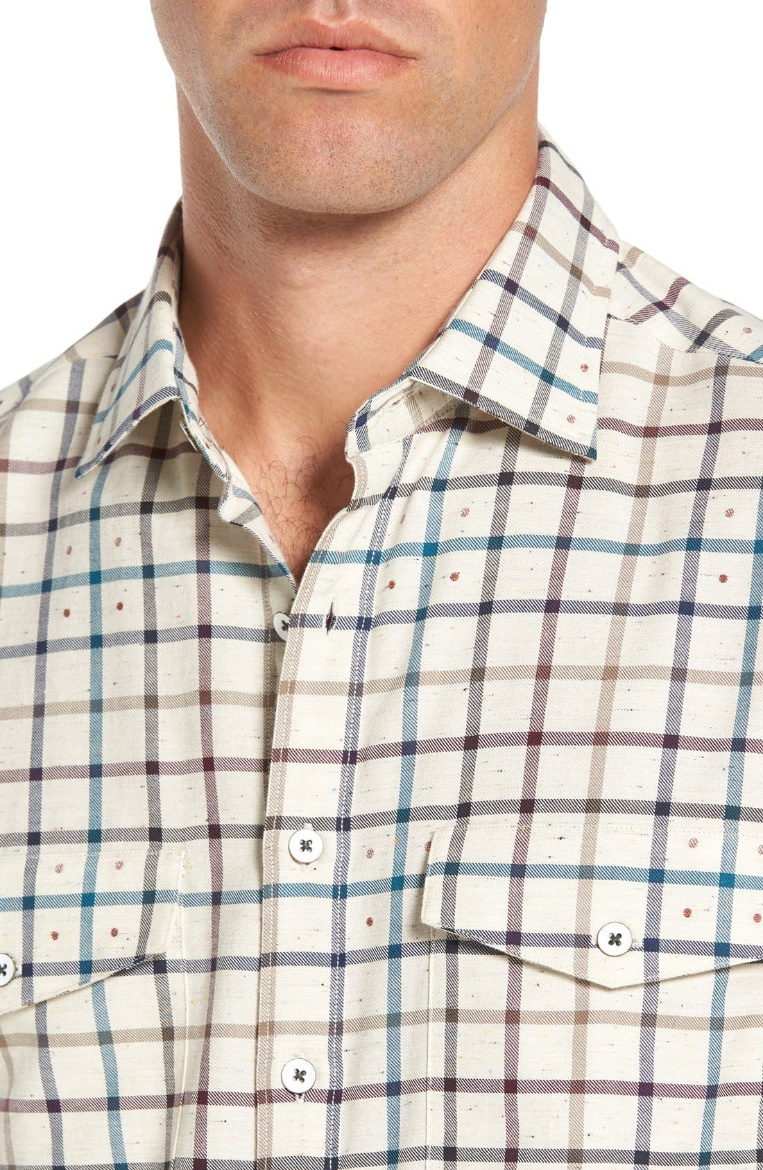 'Harker' Sports Fit Check Jacquard Sport Shirt,                             Alternate thumbnail 2, color,                             Natural