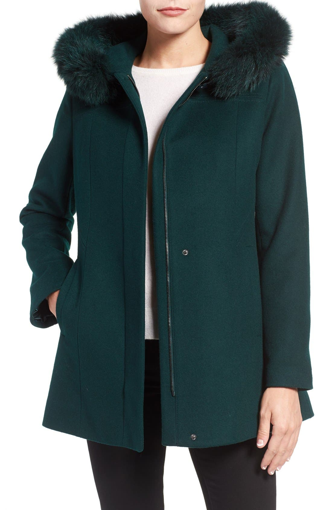 Main Image - Sachi Wool Blend Coat with Genuine Fox Fur Trim (Regular & Petite)