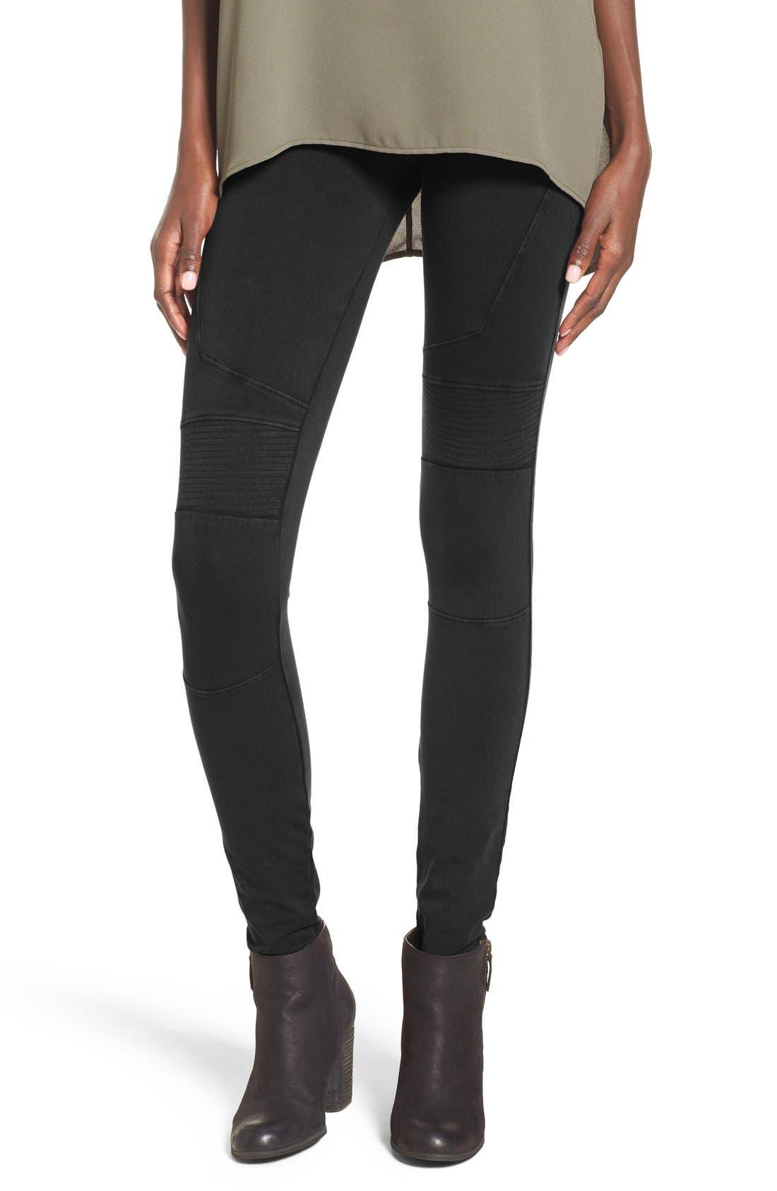 Stretch Cotton Moto Leggings,                         Main,                         color, Black