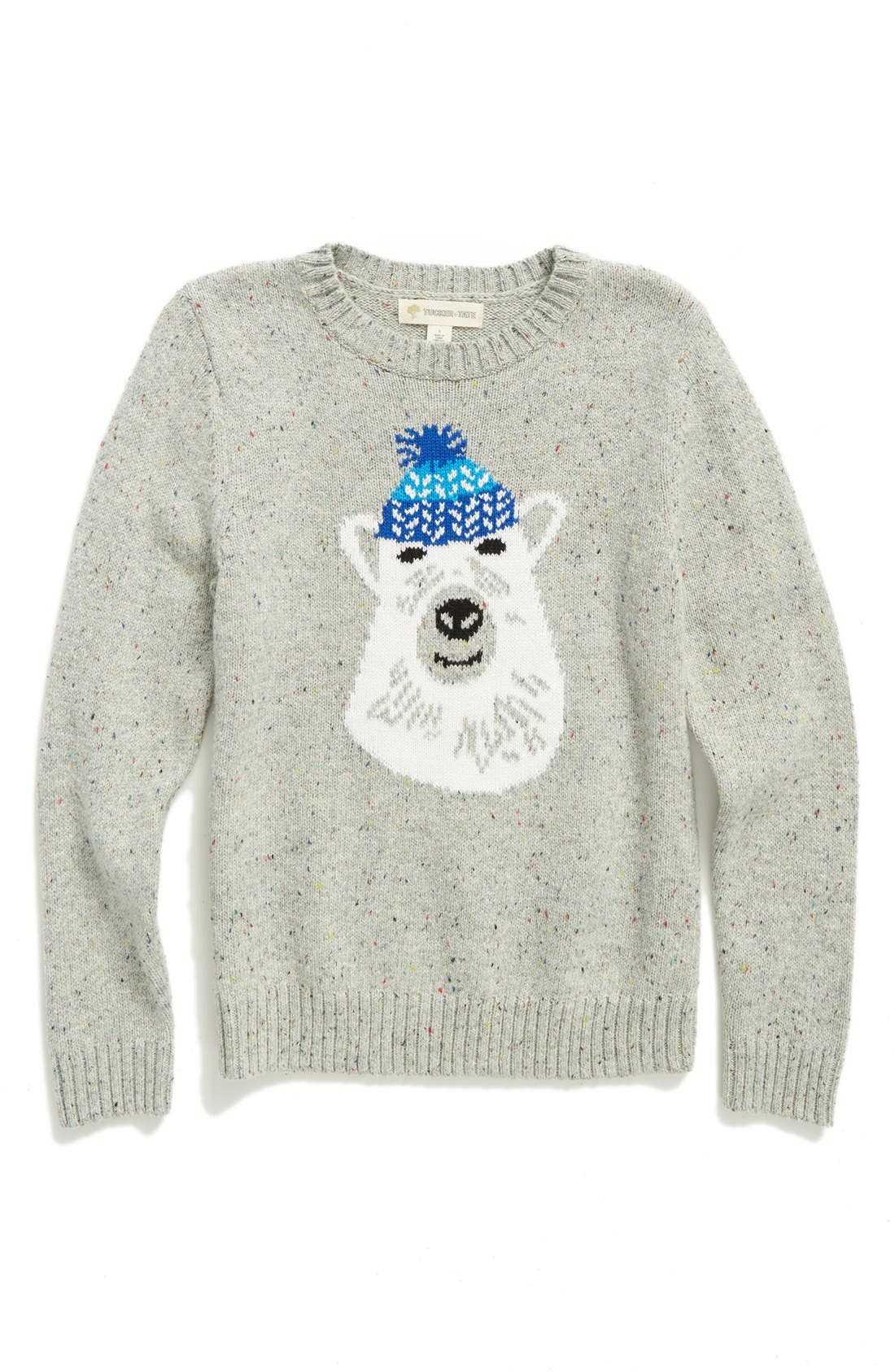 Intarsia Knit Sweater,                         Main,                         color, Grey Medium Htr Polar Bear