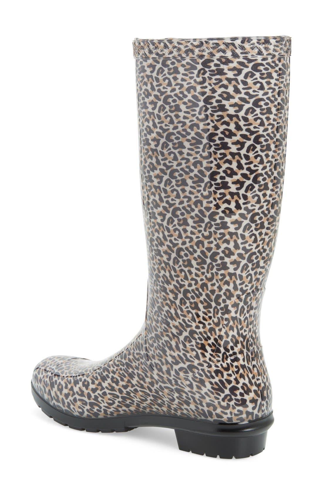 Shaye Rain Boot,                             Alternate thumbnail 2, color,                             Black Leopard