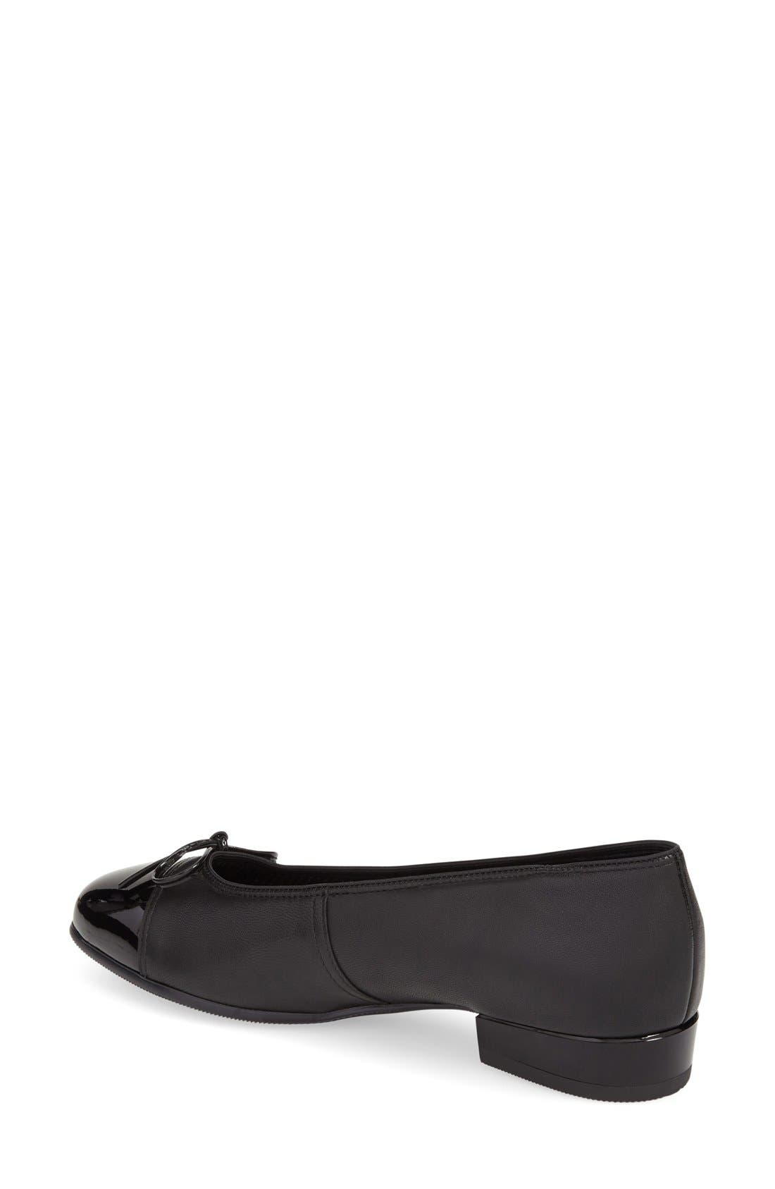 'Bel' Cap Toe Pump,                             Alternate thumbnail 2, color,                             Black Leather