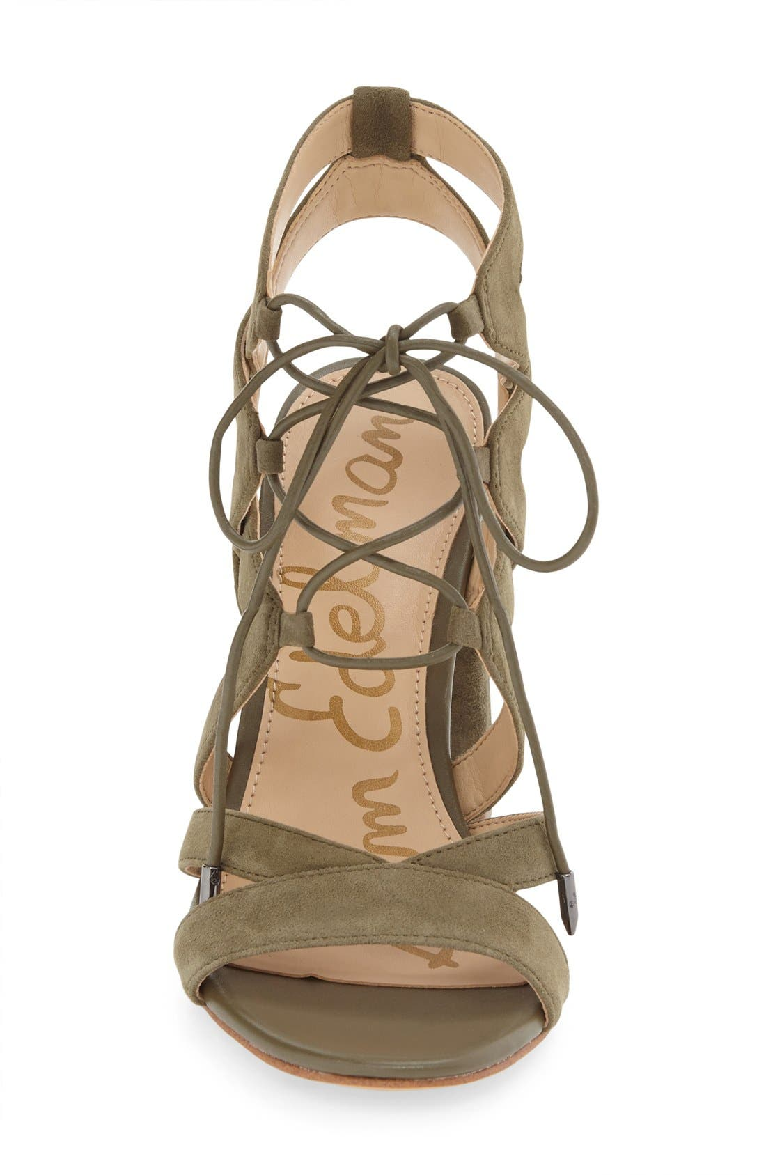 'Yardley' Lace-Up Sandal,                             Alternate thumbnail 4, color,                             Moss Green Suede Leather