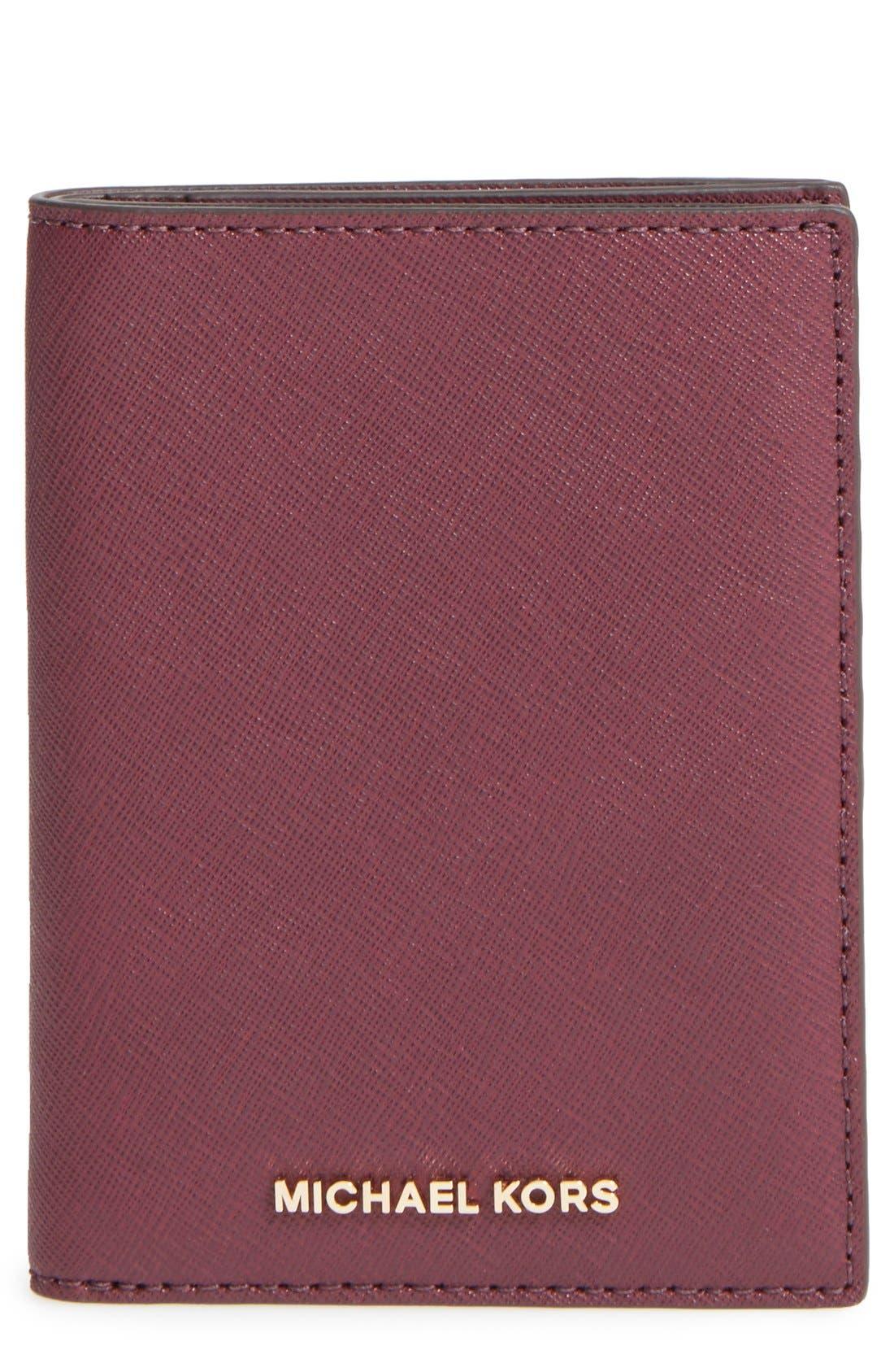 'Jet Set' Leather Passport Wallet,                             Main thumbnail 1, color,                             Plum/ Gold