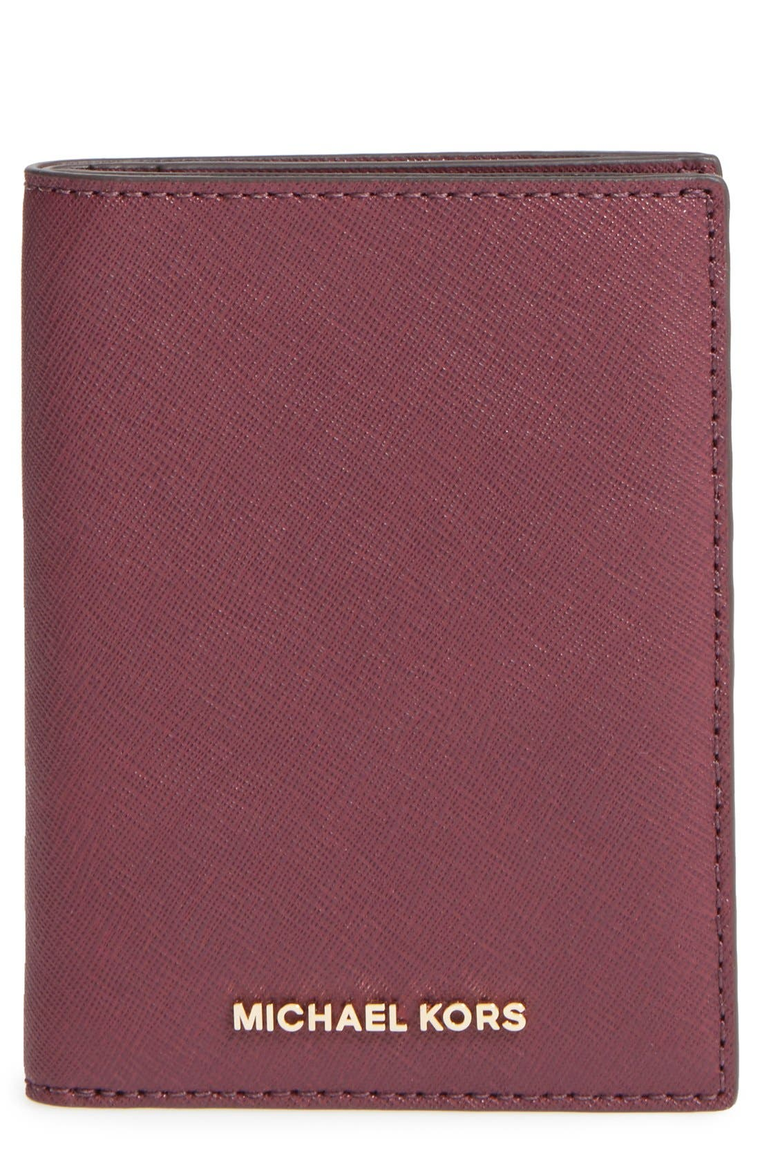 'Jet Set' Leather Passport Wallet,                         Main,                         color, Plum/ Gold