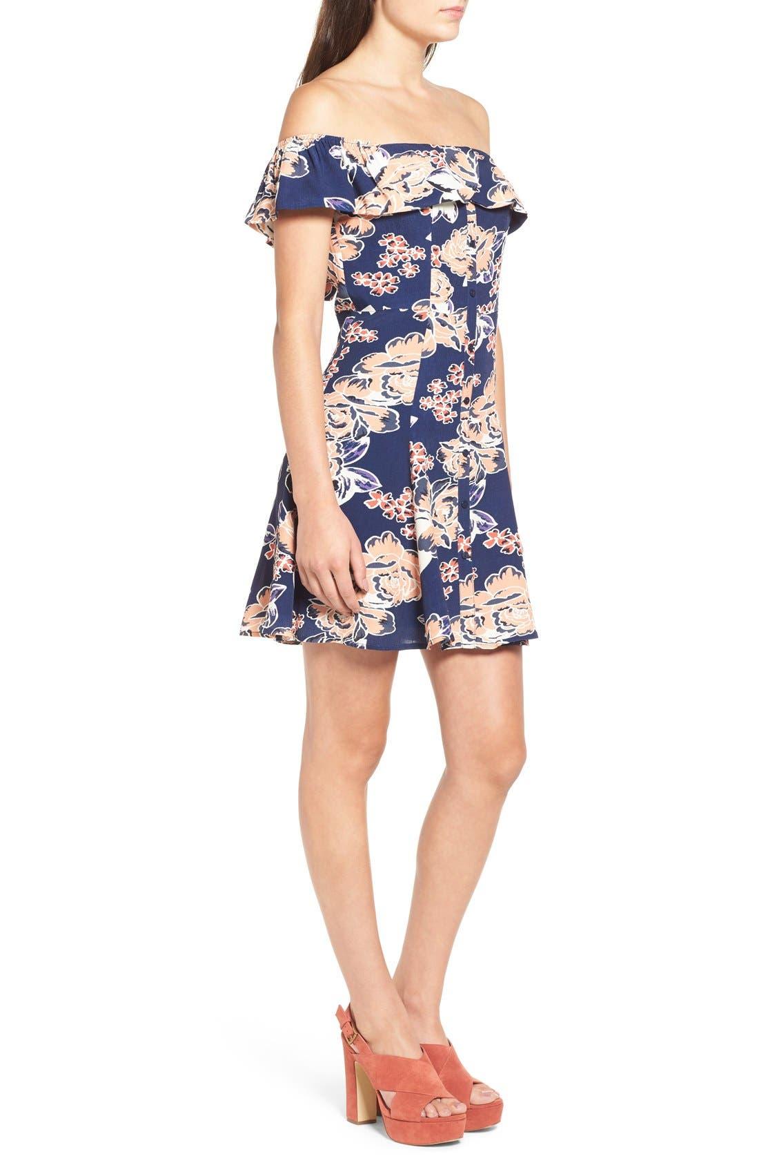 Alternate Image 4  - Lovers + Friends 'Vineyard' Floral Print Off the Shoulder Minidress