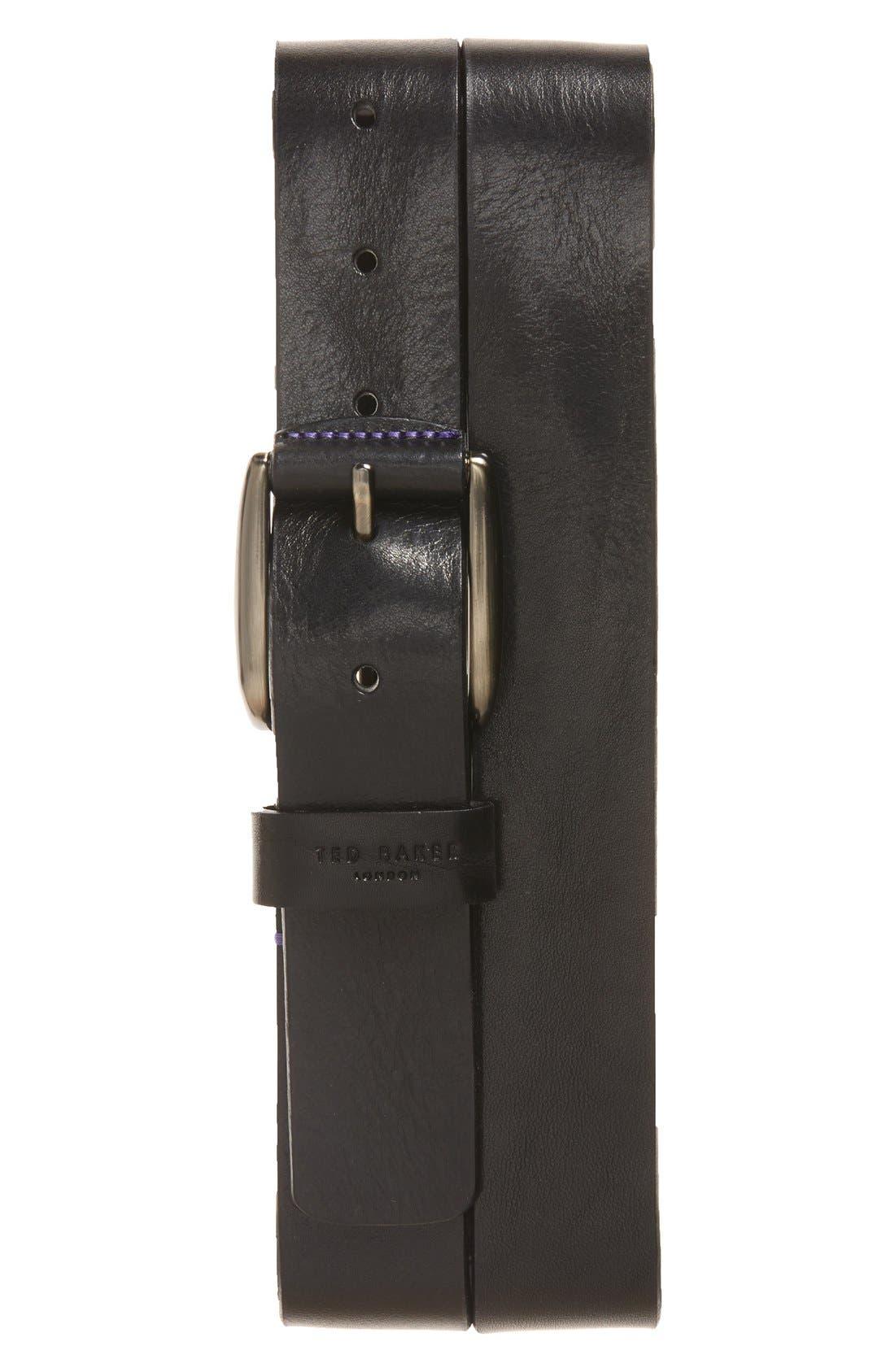 'Jean' Leather Belt,                         Main,                         color, Black