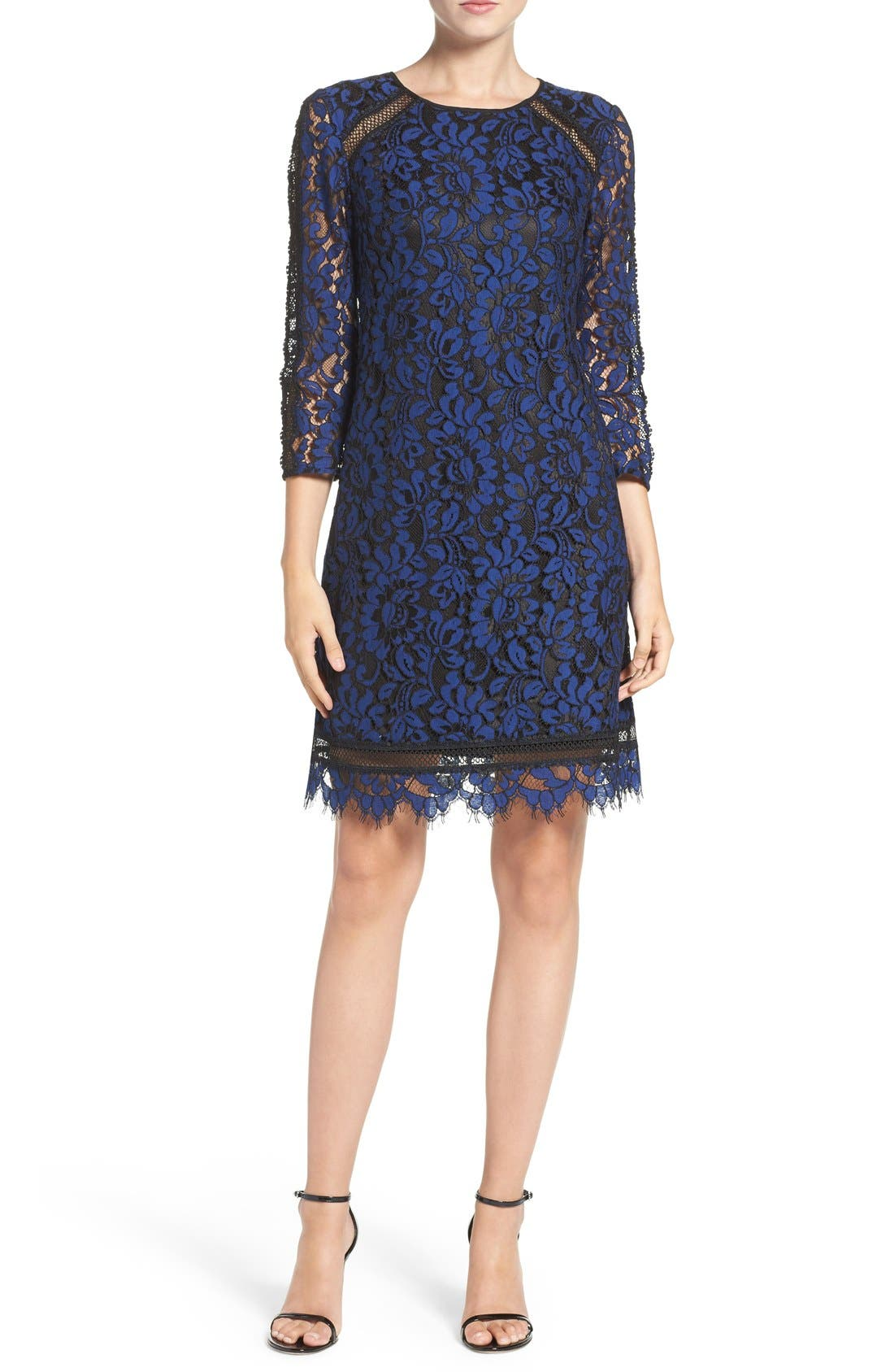 Alternate Image 4  - Eliza J Inset Lace Sheath Dress (Regular & Petite)