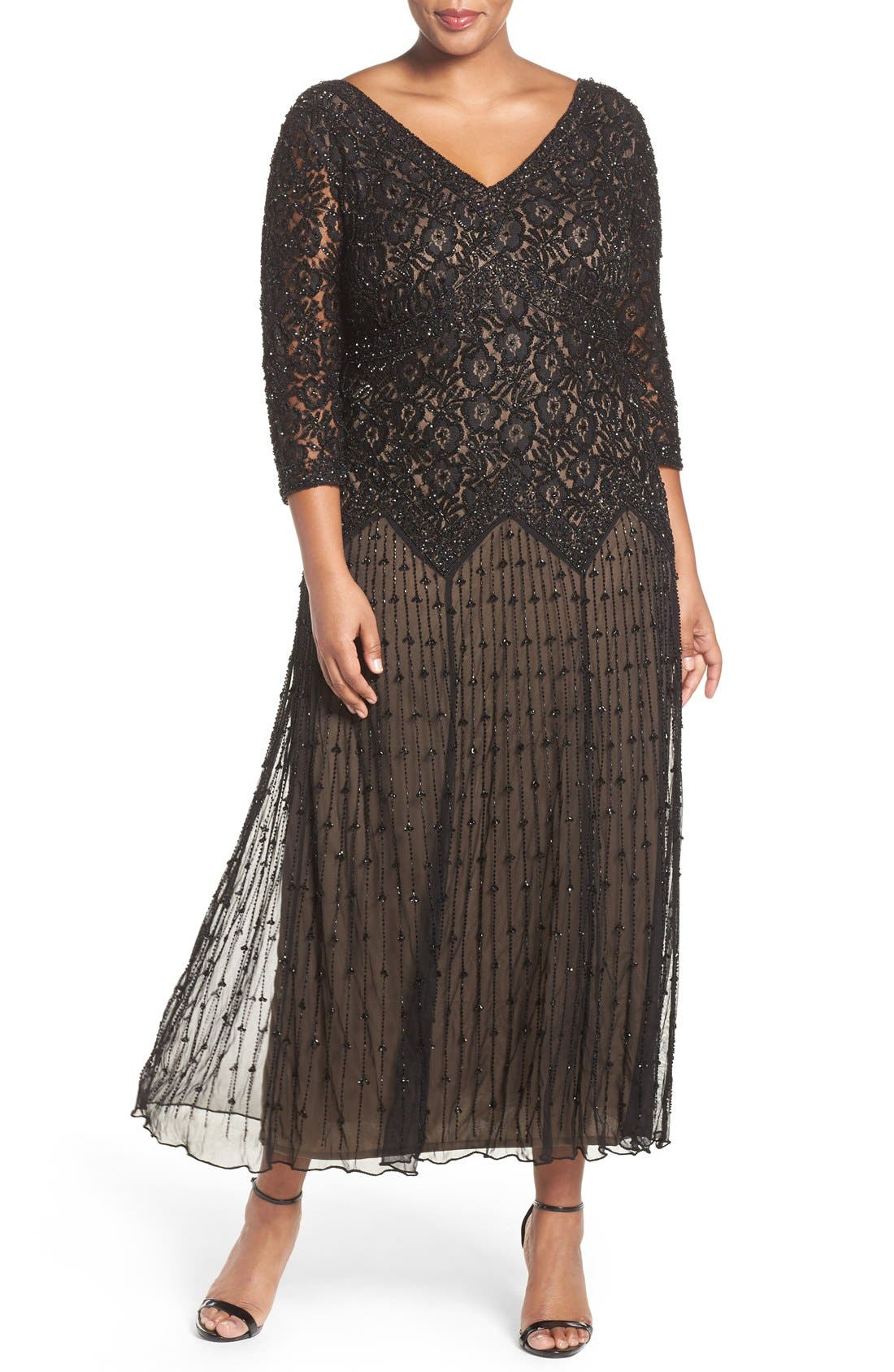 Beaded V-Neck Lace Illusion Gown,                         Main,                         color, Black/ Nude