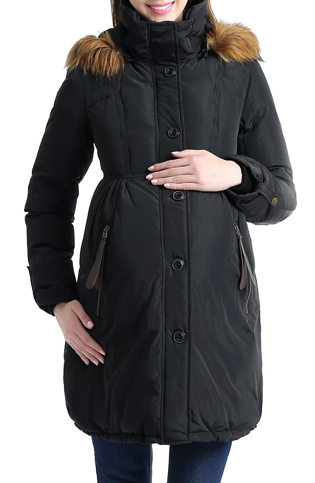 Lizzy Water Resistant Down Maternity Parka,                             Main thumbnail 1, color,                             Black