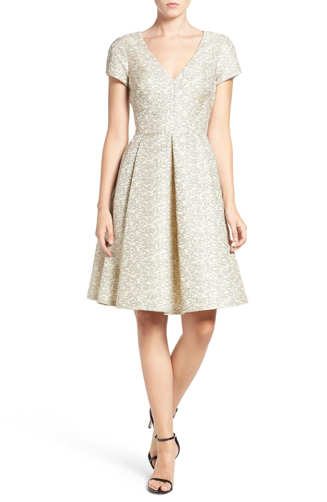 Alternate Image 4  - Eliza J Metallic Jacquard Fit & Flare Dress
