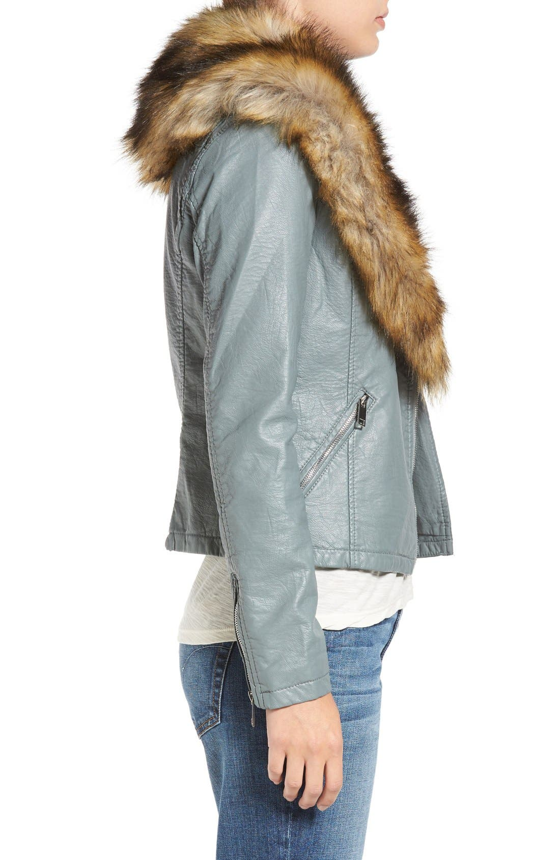 Alternate Image 3  - Love Token Faux Leather Jacket with Removable Faux Fur Collar