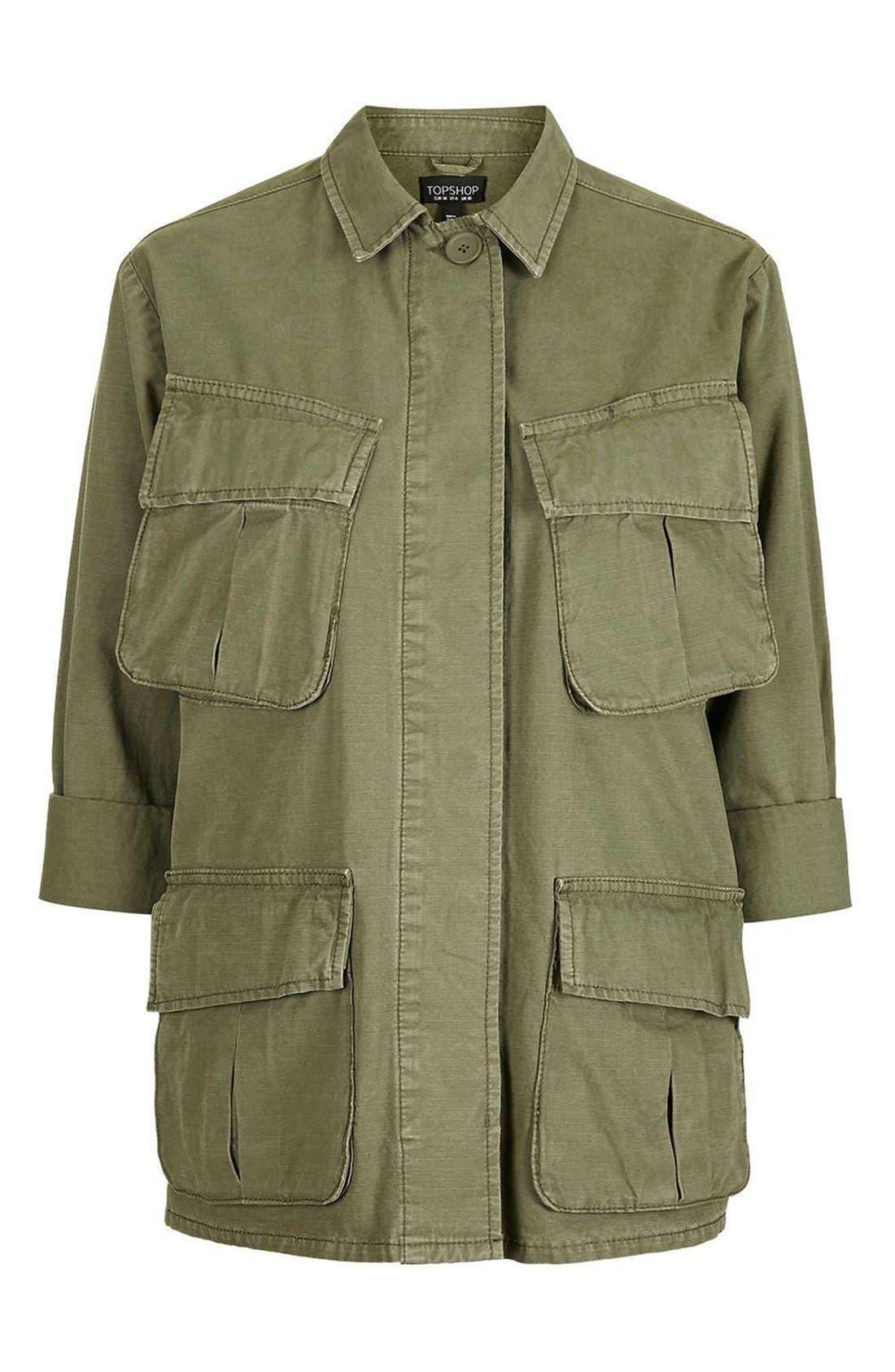 Alternate Image 5  - Topshop Oversize Army Shirt Jacket