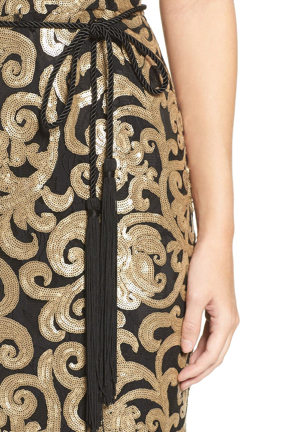 Alternate Image 4  - Vince Camuto Belted Sequin Gown