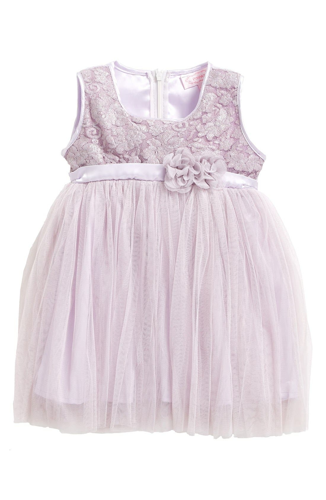 Main Image - Popatu Empire Waist Lace Dress (Baby Girls)