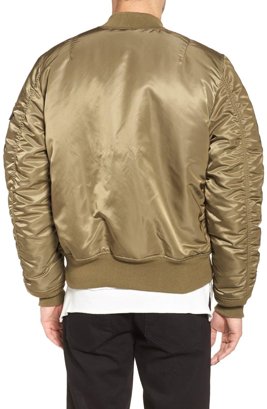 'MA-1' Slim Fit Bomber Jacket,                             Alternate thumbnail 2, color,                             Vintage Olive