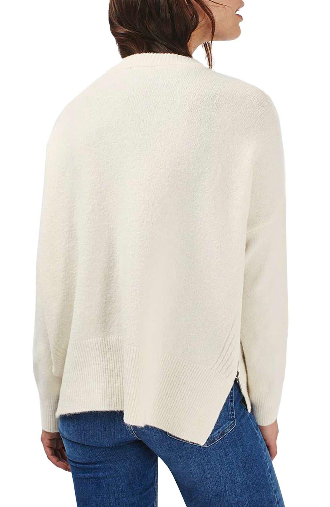 Zip Side Sweater,                             Alternate thumbnail 3, color,                             Cream