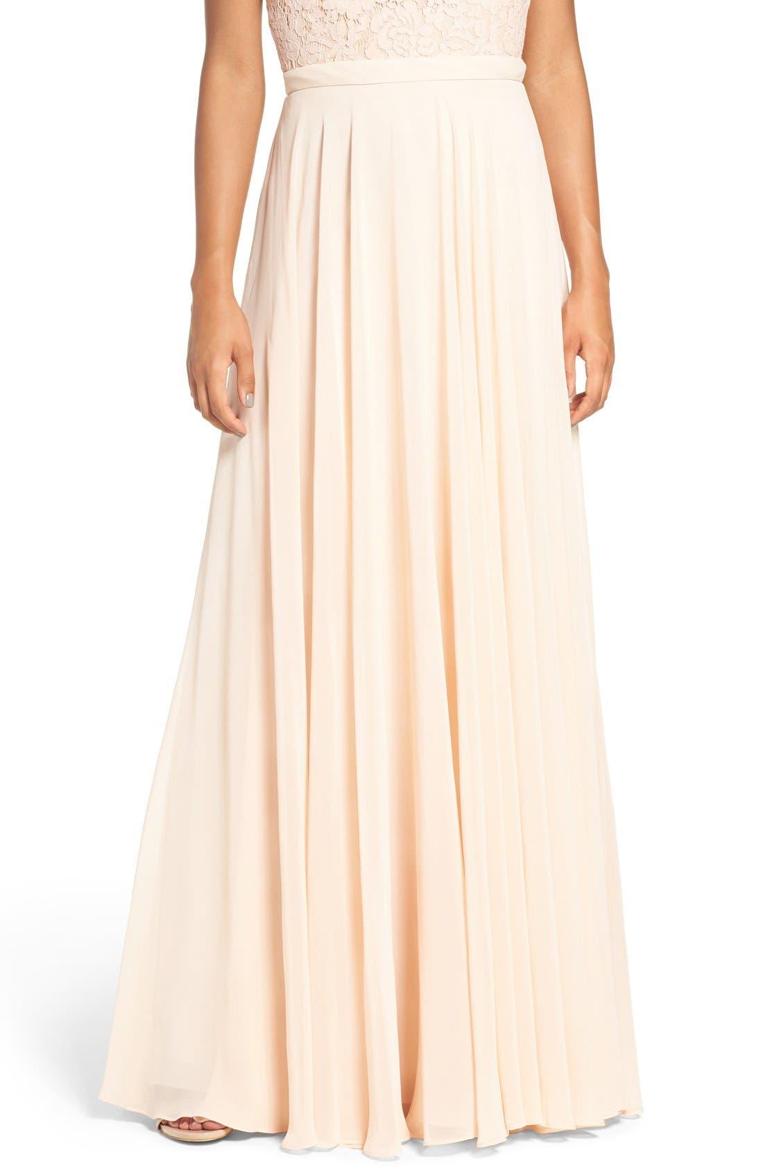 Alternate Image 1 Selected - Jenny Yoo 'Hampton' Long A-Line Chiffon Skirt