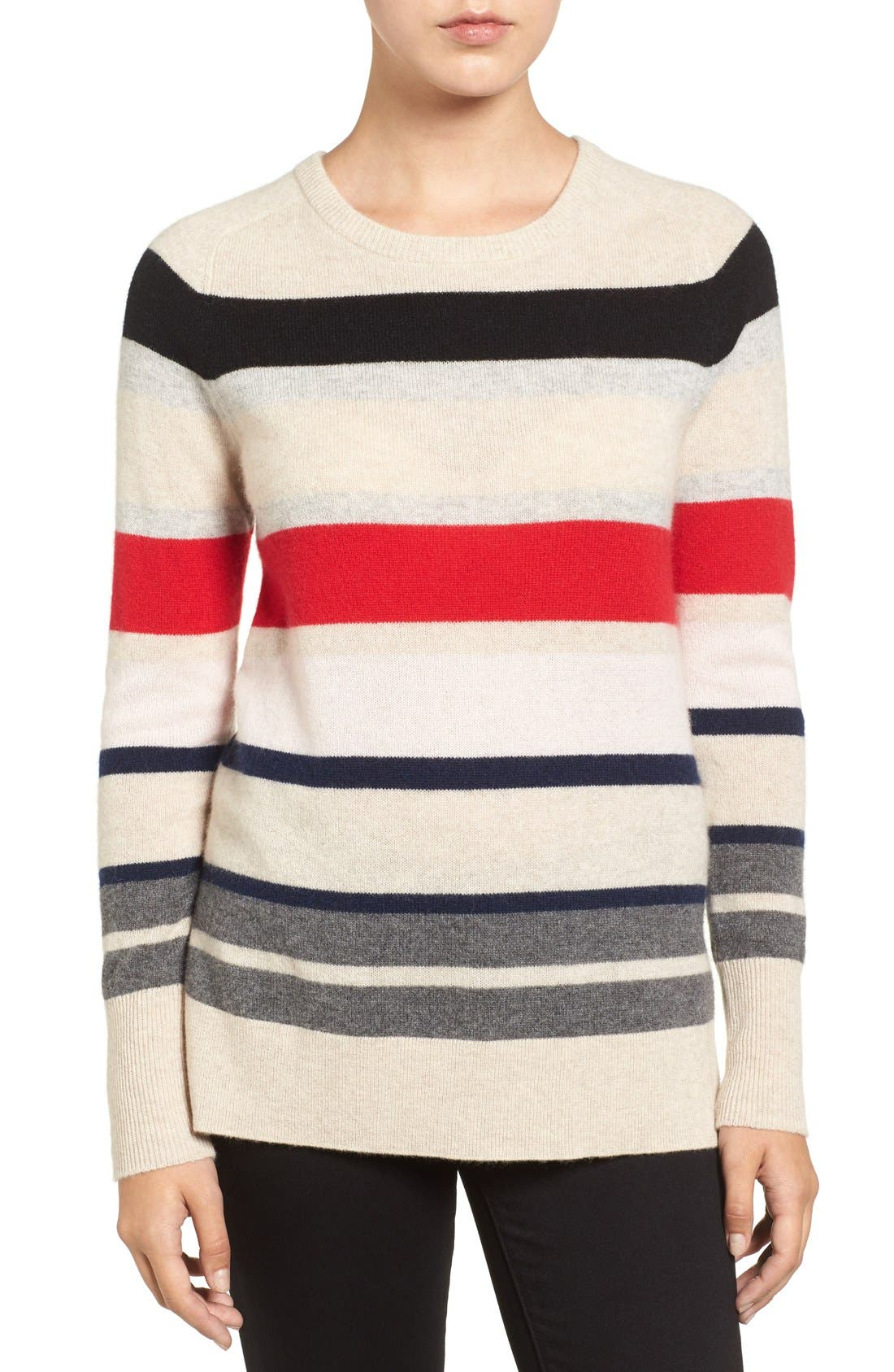 Alternate Image 1 Selected - Halogen® Patterned Cashmere Sweater (Regular & Petite)