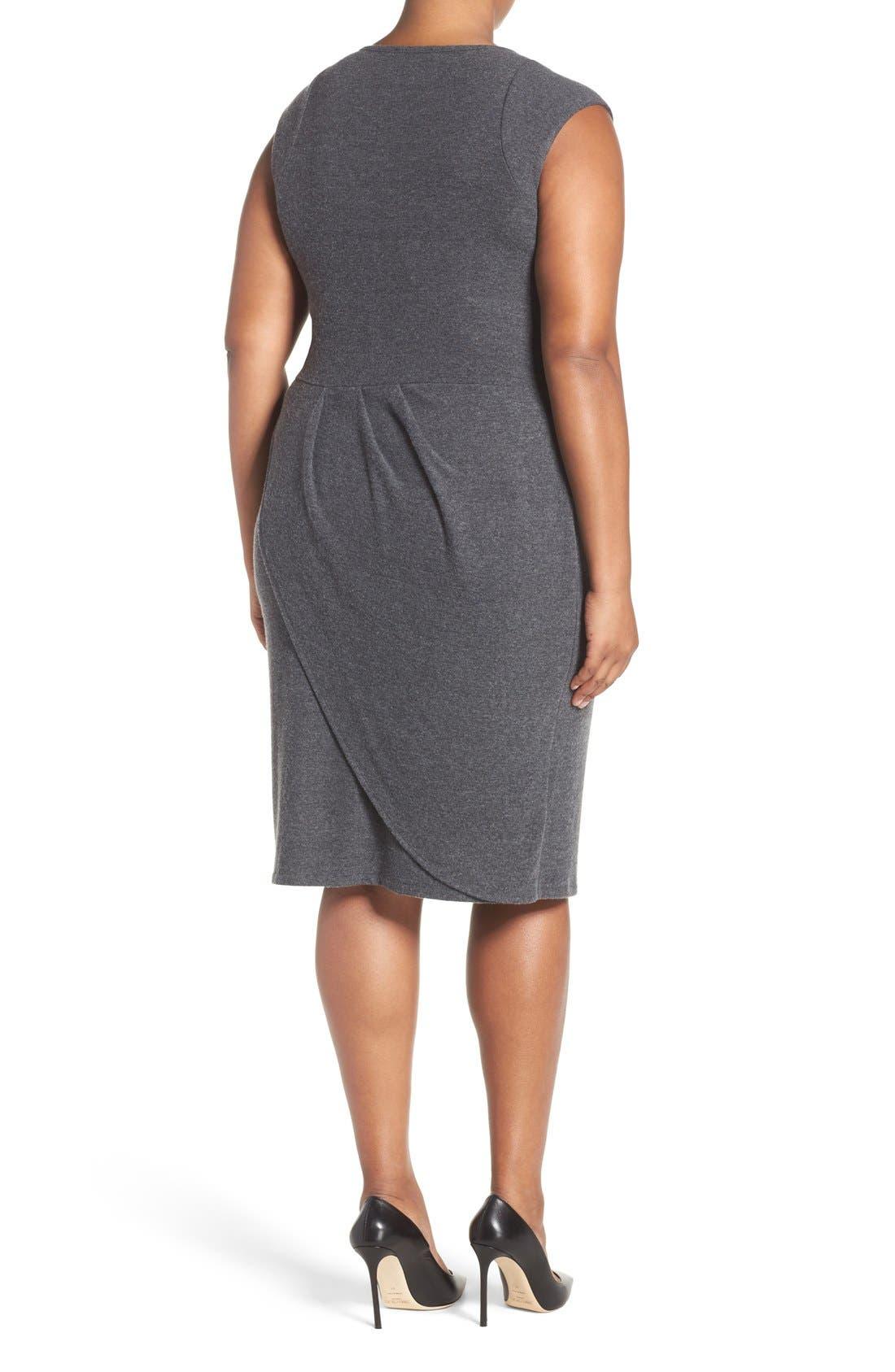 'Analyse' Faux Wrap Sheath Dress,                             Alternate thumbnail 2, color,                             Charcoal