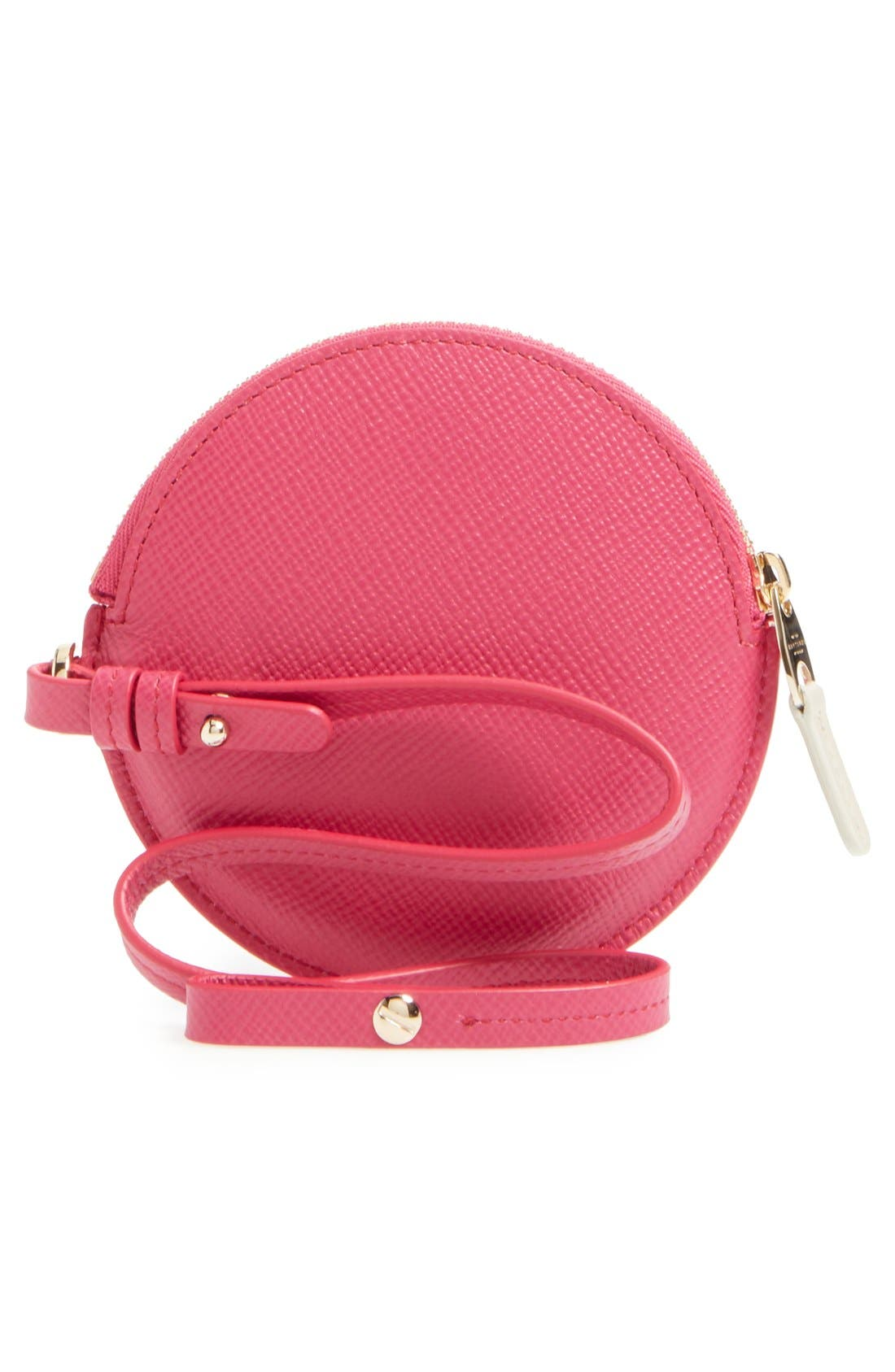 Circle Leather Coin Purse,                             Alternate thumbnail 4, color,                             Fuchsia