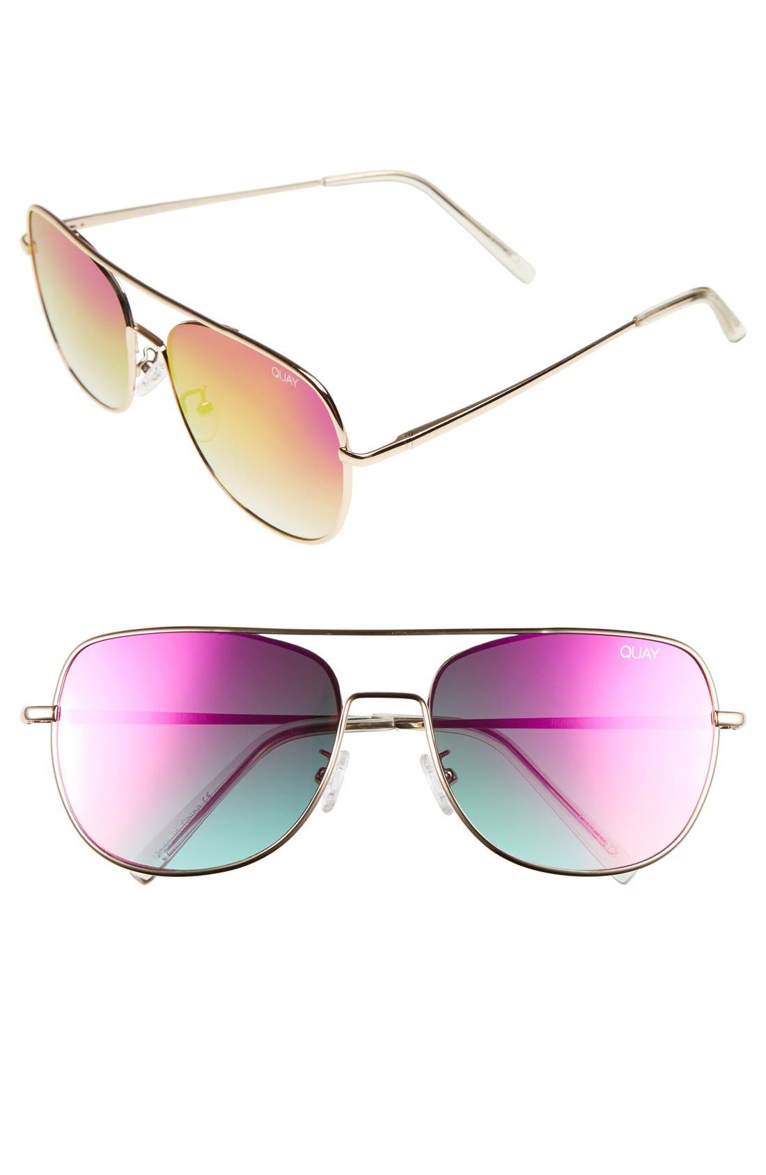 'Running Riot' 58mm Aviator Sunglasses,                             Main thumbnail 1, color,                             Gold/ Pink