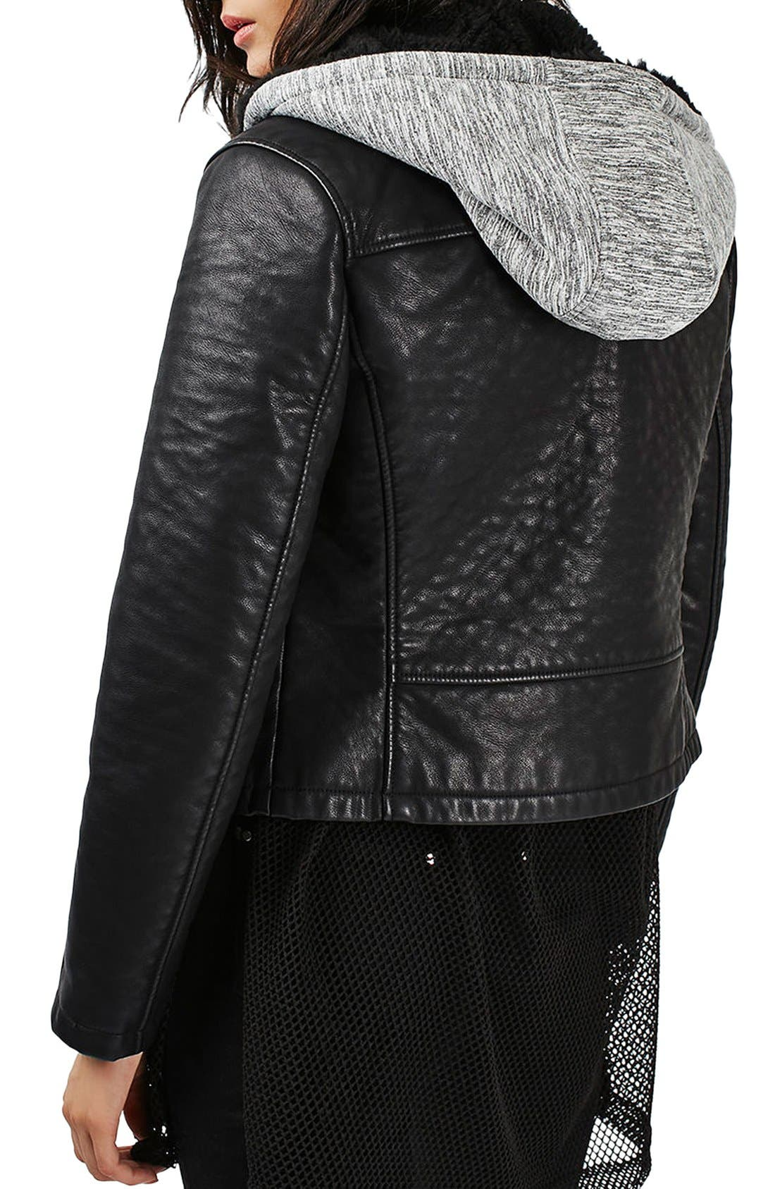 Maggie Faux Leather Moto Jacket with Faux Fur Lined Hood,                             Alternate thumbnail 3, color,                             Black