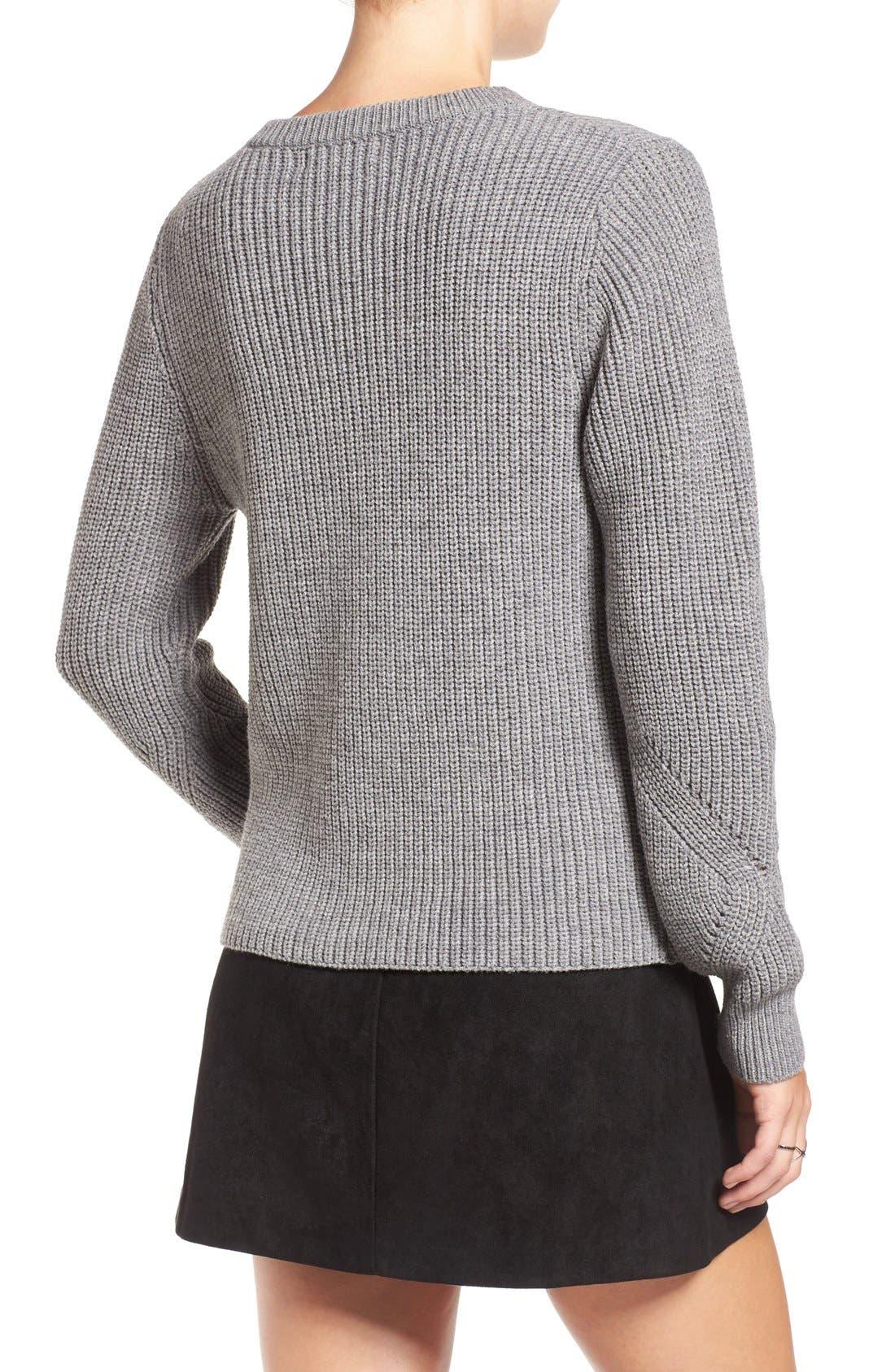 Alternate Image 2  - Elodie Rib Knit Lace-Up Sweater