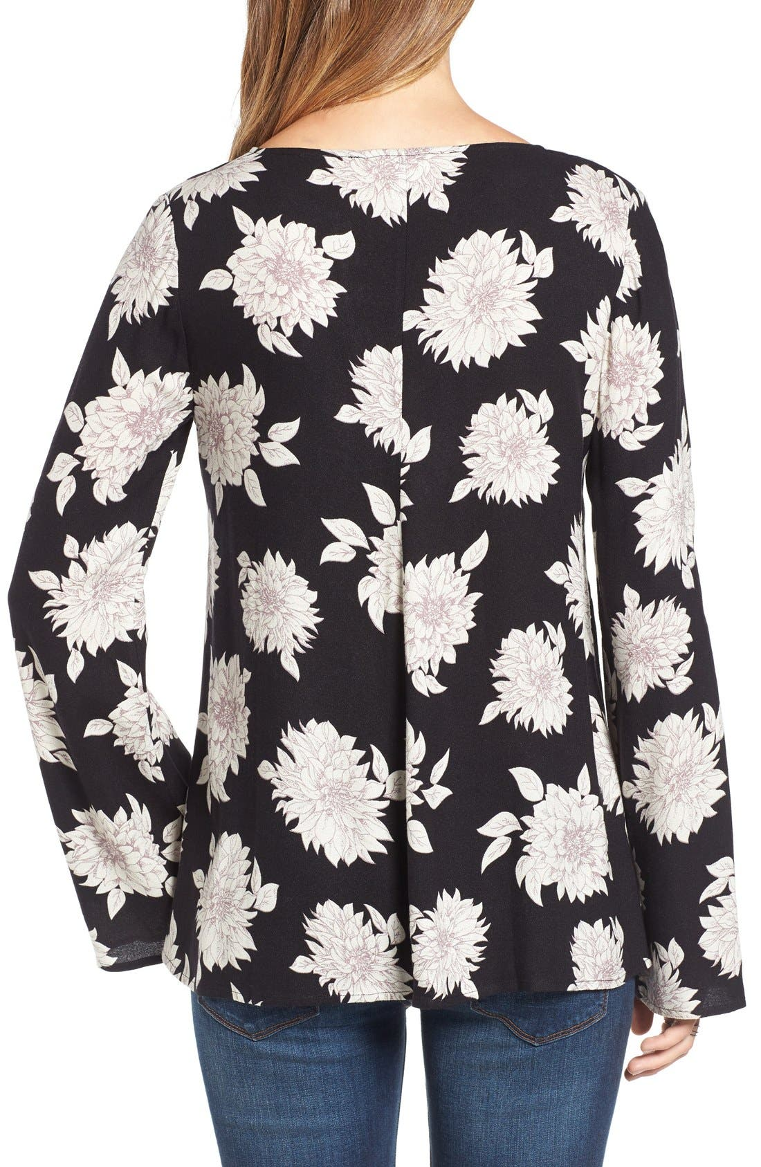 Alternate Image 2  - Sun & Shadow Floral Print Lace-Up Top