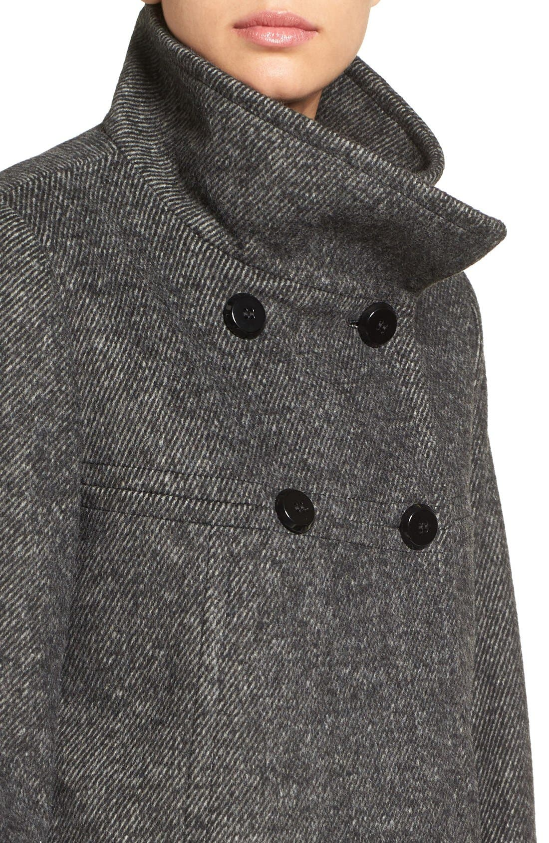 Double Breasted Swing Coat,                             Alternate thumbnail 4, color,                             Black/ Charcoal