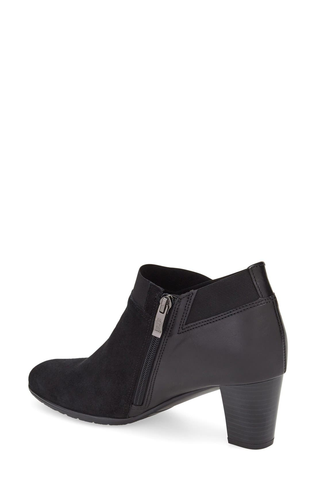 'Torrence' Almond Toe Zip Bootie,                             Alternate thumbnail 2, color,                             Black Suede