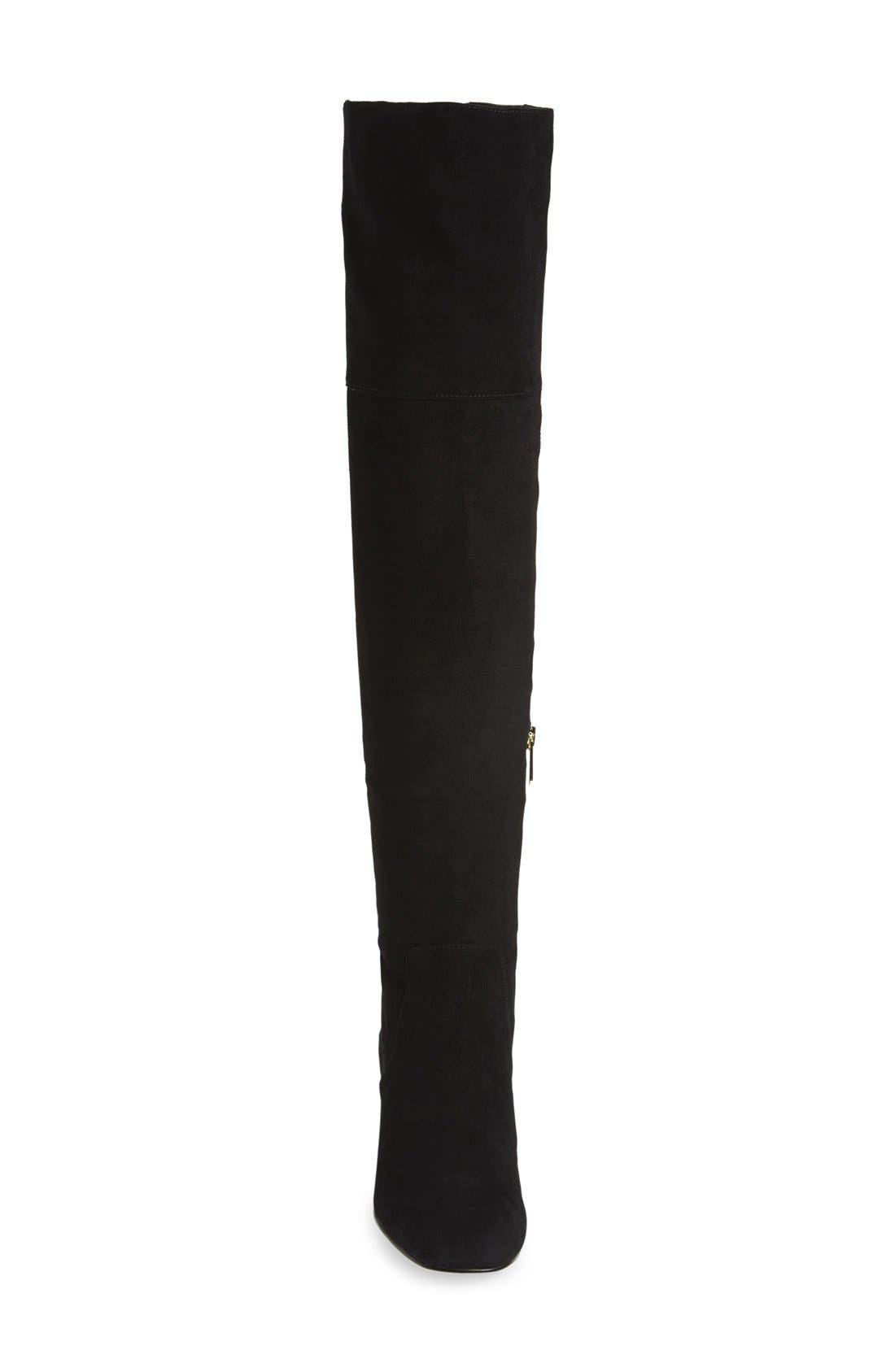 'Elina' Over the Knee Boot,                             Alternate thumbnail 3, color,                             Black Suede Leather