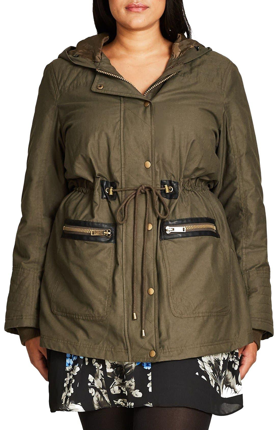 Main Image - City Chic Faux Fur & Faux Leather Trim Hooded Drawstring Parka (Plus Size)
