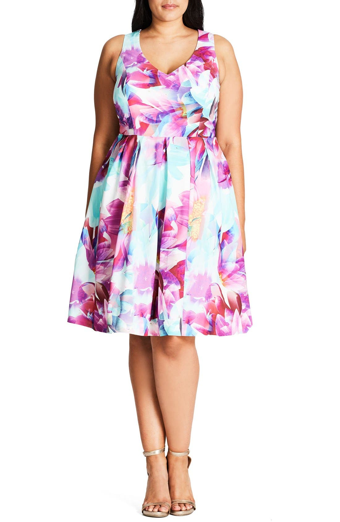 City Chic Bright Bouquet Print Fit & Flare Dress (Plus Size)