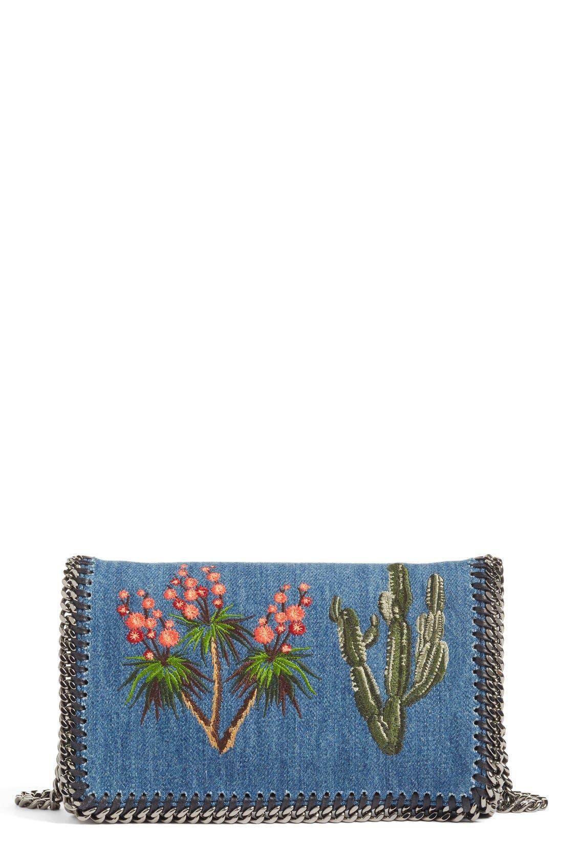 Alternate Image 1 Selected - Stella McCartney Embroidered Denim Shoulder Bag