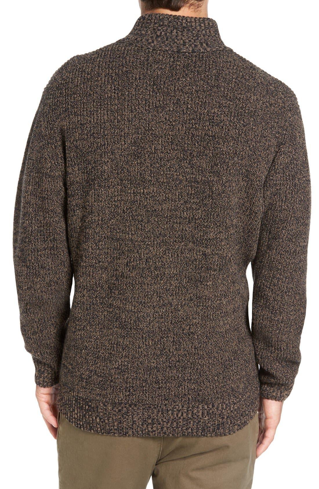 'Woodglen' Herringbone Knit Lambswool Quarter Zip Sweater,                             Alternate thumbnail 2, color,                             Walnut