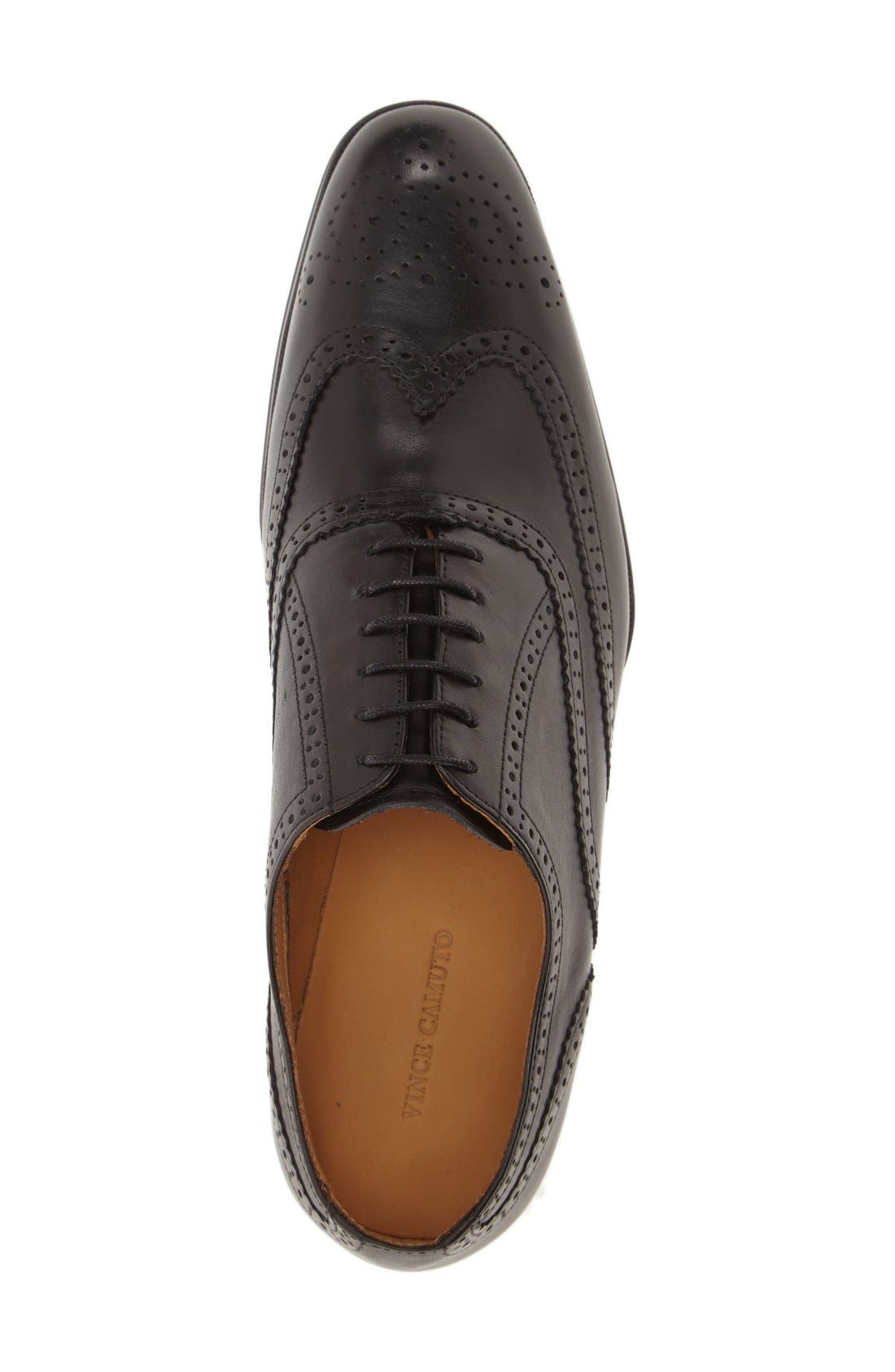 'Tallden' Wingtip,                             Alternate thumbnail 3, color,                             Black Leather