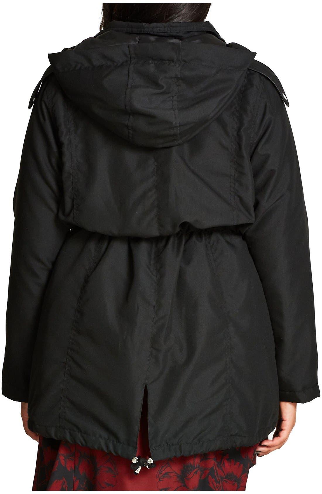 Alternate Image 2  - City Chic 'London Look' Faux Fur Trim Hooded Parka (Plus Size)
