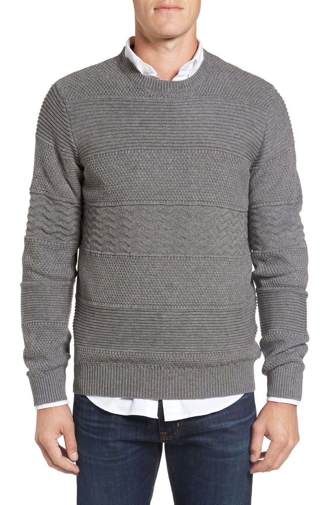 Structure Crewneck Sweater,                             Main thumbnail 1, color,                             Grey Melange