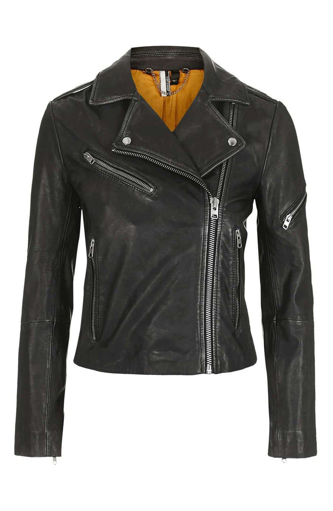 Alternate Image 5  - Topshop Lightning Leather Biker Jacket