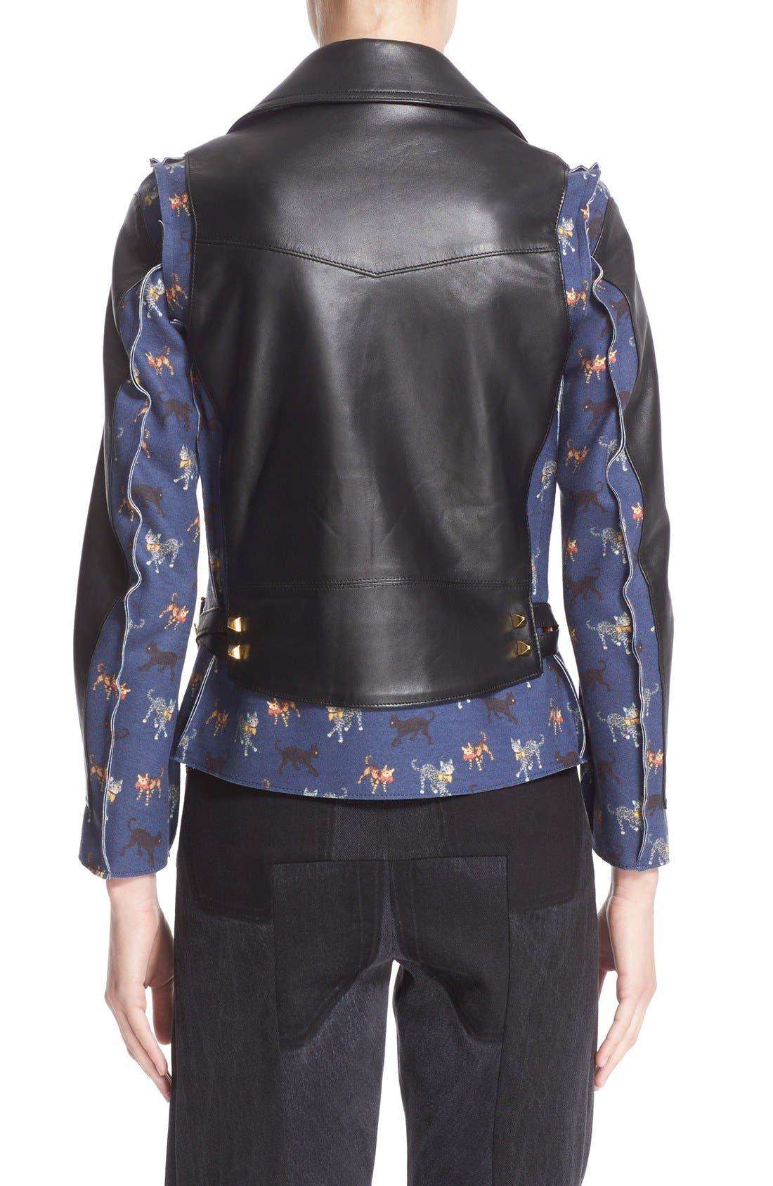 Alternate Image 2  - Undercover Leather & Wool Moto Jacket