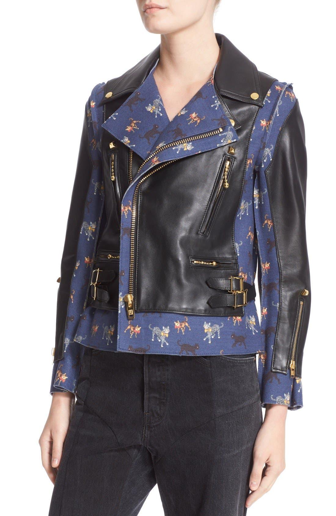 Alternate Image 6  - Undercover Leather & Wool Moto Jacket