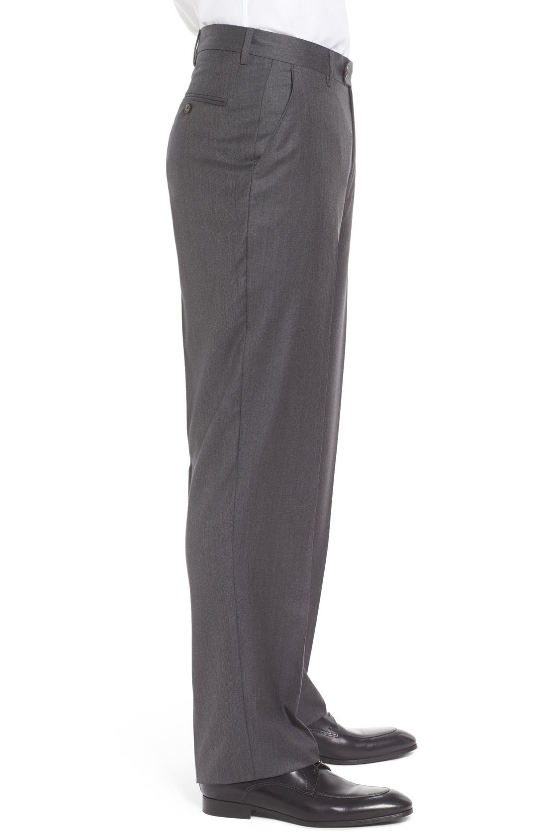 Flat Front Solid Wool Trousers,                             Alternate thumbnail 4, color,                             Medium Grey